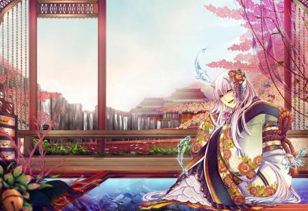 Заставки арт, domco, девушка, кимоно
