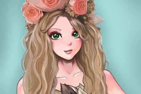 Рисунки арт, девушка, зеленые глаза, лицо
