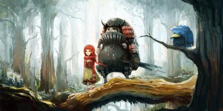 Заставки девочка, деревья, лес, ветка