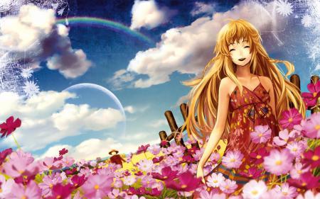 Рисунки девушка, луг, цветы, смех