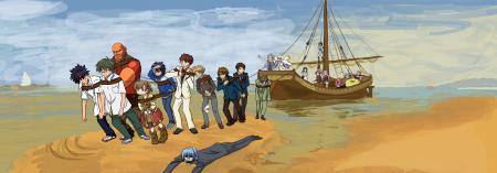 Заставки Аниме, корабль, море