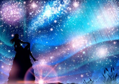 Рисунки арт, skyt2, девушка, небо