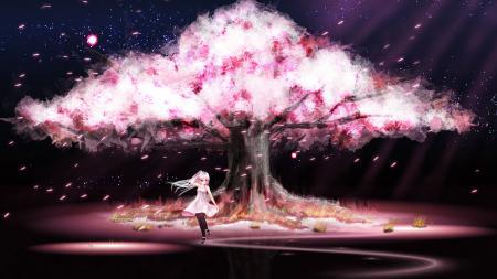 Картинки девушка, дерево, сакура, цветение