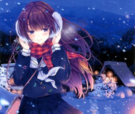 Картинки арт, ohara tometa, девушка, зима