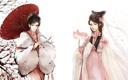 Рисунки Девушки, персонификация. зима, весна, зонт