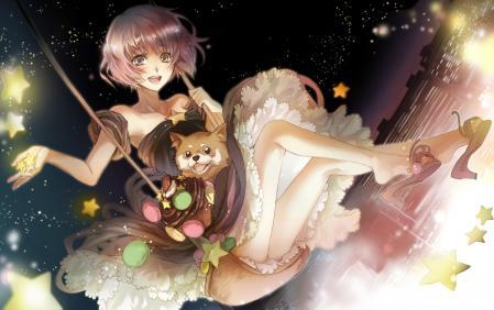 Рисунки Девушка, качели, звезды, ночь