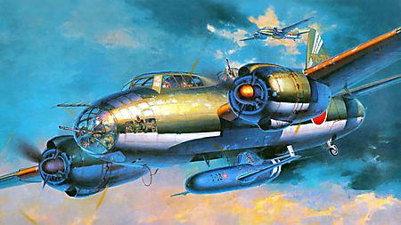 Картинки бомбардировщик Mitsubishi G4M, Yokosuka MXY7 Ohka, крылатая бомба, налёт