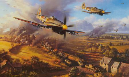 Заставки атака, самолет, поле боя, танк