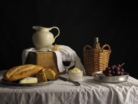 Картинки натюрморт, хлеб, масло, сыр