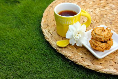 Фотографии чай, чашка, ложка, желтая