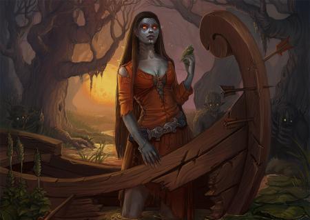 Заставки арт, девушка, демон, лодка