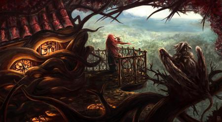 Рисунки арт, дом, дерево, корни