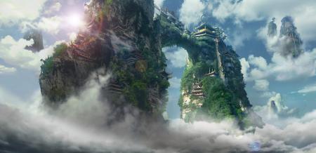 Обои арт, летающие, острова, храм
