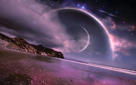 Рисунки dreamworld, планеты, море, берег