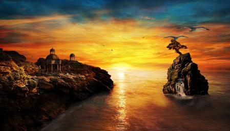 Заставки фантастика, монахи, водопад, море