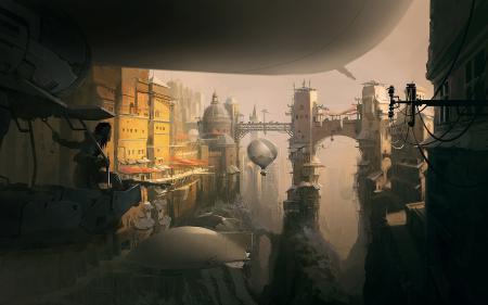 Рисунки арт, город, человек, дирижабль