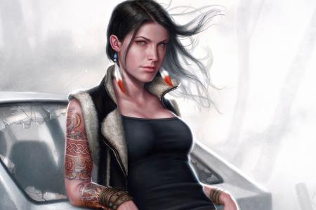 Рисунки арт, девушка, татуировки, машина