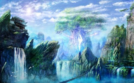 Заставки большое дерево, водопад, мост, небо