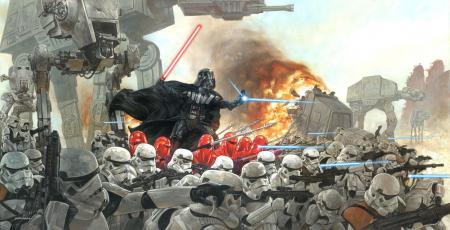 Картинки Star Wars, Дарт вейдер, сражение, имперцы