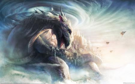 Рисунки Bin Wee, дракон, звездолёты, город