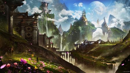 Обои арт, фантастический мир, горы, планета