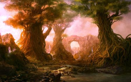 Картинки лес, деревья, корни, водопады