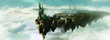 Заставки арт, город, в облаках, небо