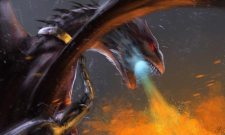 Рисунки арт, фантастика, дракон, огнедышащий