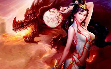 Обои Dragon, fire, breast, boobs