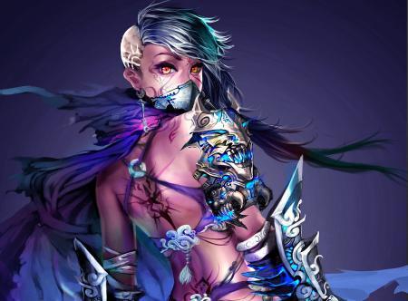 Картинки арт, девушка, маска, повязка