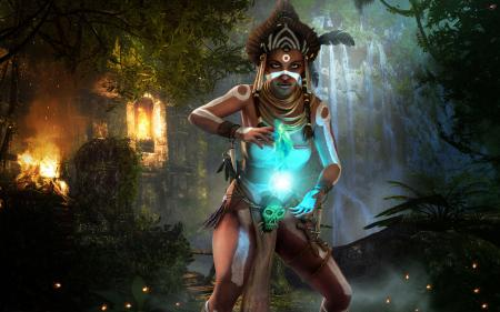 Картинки Женщина, шаман, череп, свет