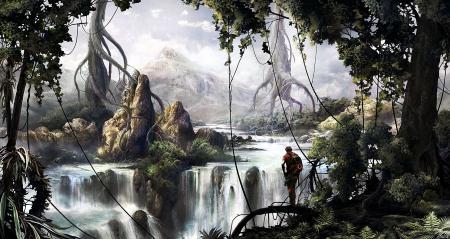 Картинки арт, silviudinu, джунгли, река