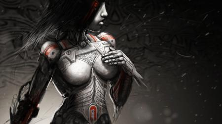 Рисунки арт, девушка, металл, робот