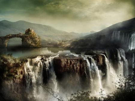 Обои пейзаж, горы, водопады, скалы