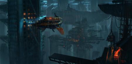 Картинки летающий, корабль, дома, дождь