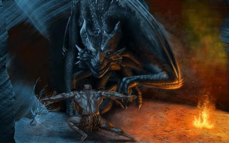Рисунки арт, masterBo, дракон, человек