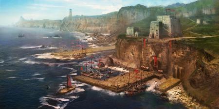 Рисунки арт, kingcloud, пейзаж, гавань