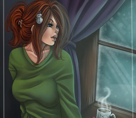 Заставки Amberly Berendson, Harpyqueen, девушка, утро