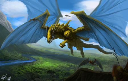 Картинки арт, Peter Balogh, драконы, долина