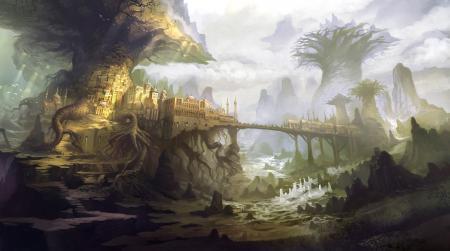 Обои арт, город, деревья, гигантские