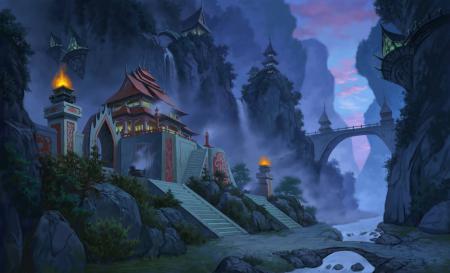 Картинки jade dynasty, город, туман, горы