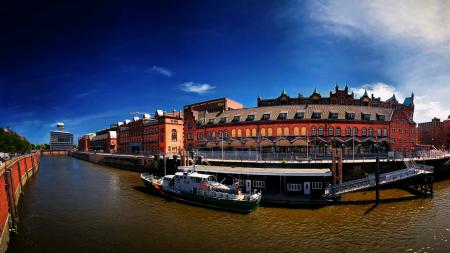 Заставки Германия, Гамбург, город, река