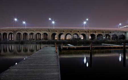 Обои мост, озеро, ночь, город