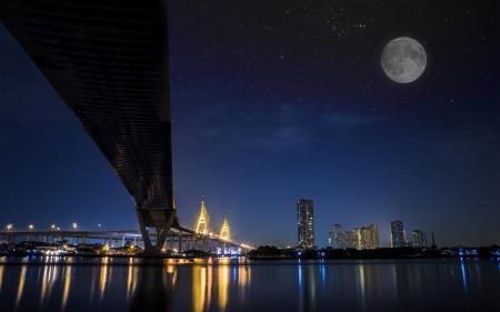 Картинки Bhumibol bridge, Bangkok, Thailand, мост