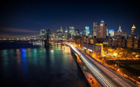 Заставки город, ночь, огни, дорога