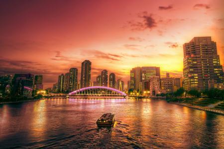 Фотографии город, река, мост, дома