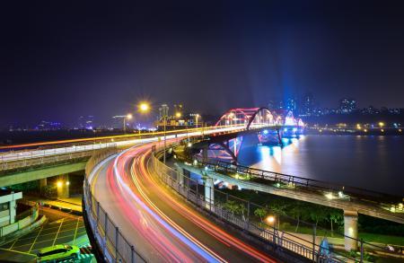 Заставки город, ночь, река, мост