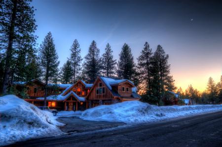 Картинки зима, Канада, дорога, особняк