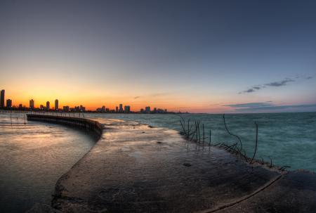 Фото Чикаго, Иллиноис, город, вечер