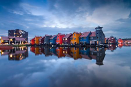 Обои Нидерланды, Гронинген, дома, вода